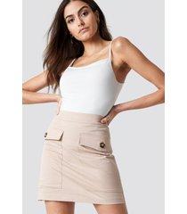 na-kd trend cotton blend mini skirt - beige