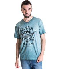 camiseta masculina malha flamê 33002 ciano claro