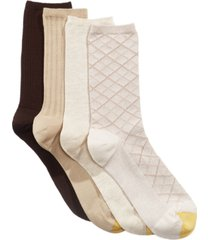 gold toe women's 4 pack textured crew socks