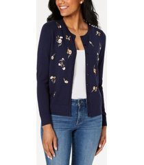 charter club petite long-sleeve floral-embroidered cardigan, created for macy's
