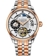 stuhrling men's rose gold, silver tone stainless steel bracelet watch 42mm