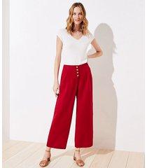 loft linen blend button front wide leg pants