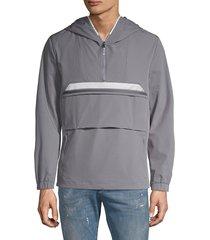 karl lagerfeld paris men's half-zip hooded jacket - grey - size l