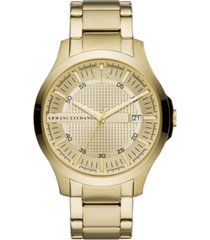 ax armani exchange men's hampton gold-tone stainless steel bracelet watch 46mm