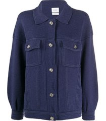 barrie button-up two-pocket cardigan - blue