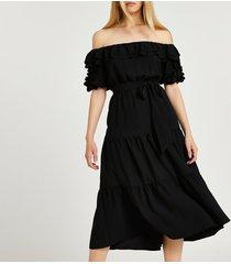 river island womens black bardot frill hem midi dress
