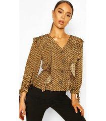 geo print button ruffle blouse, khaki