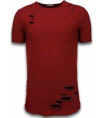 t-shirt korte mouw â© man damaged look shirt - long fit t-shirt -