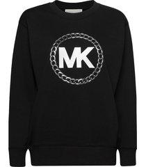 ht chain mk logo swts sweat-shirt tröja svart michael kors