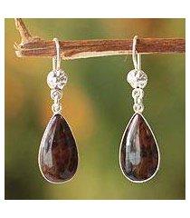 mahogany obsidian dangle earrings, 'inca aesthetic' (peru)