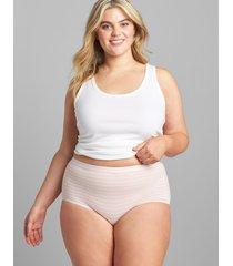 lane bryant women's cotton full brief panty 34/36 clean stripe