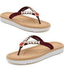 verano sandalias mujer abalorios rhinestone sandalias de playa chanclas talón plano