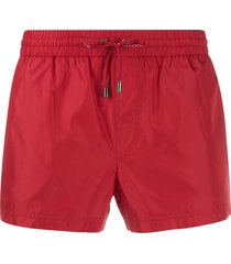 dolce & gabbana drawstring fitted swim shorts - red