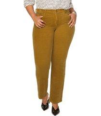 plus size women's nydj marilyn straight leg corduroy pants, size 20w - yellow