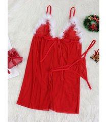 conjunto de lencería sexy de malla con lazo rojo