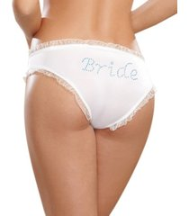 "dreamgirl women's microfiber low-rise panty with rhinestone ""bride"" detail"