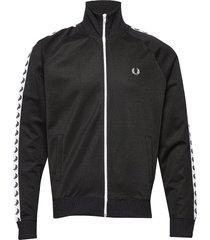 taped track jacket sweat-shirt tröja svart fred perry