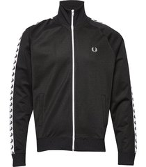 taped track jacket sweat-shirt tröja svart fred perry