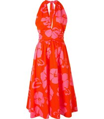 staud hibiscus floral print dress - red