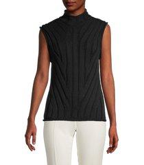 theory women's moving rib-knit sleeveless top - black - size s