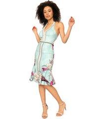 vestido frente única dimy midi estampado verde/rosa - kanui