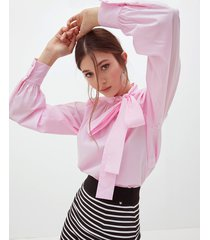 motivi camicia over con fiocco donna rosa