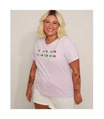"camiseta feminina plus size see you soon in california"" manga curta lilás"""