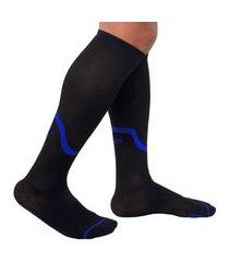 meia de compressão selene 3/4 esportiva - preto e azul