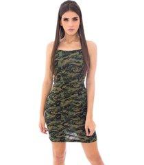 vestido moda vicio de alcinha militar