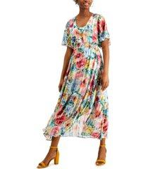 kensie shadow-striped floral-print maxi dress