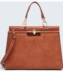 motivi borsa iconic a soffietto con borchie donna marrone