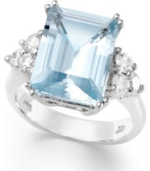 14k white gold ring, aquamarine (5-1/2 ct. t.w.) and diamond (1/2 ct. t.w.) emerald-cut ring