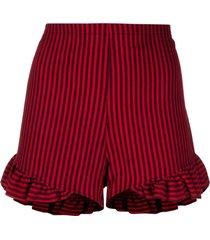 roseanna vertical-stripe ruffled shorts - red