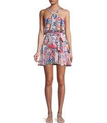 halter floral tiered dress
