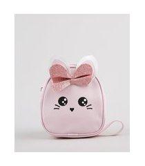 bolsa infantil coelhinho rosa claro