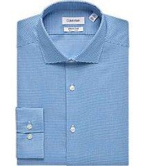 calvin klein infinite non-iron french blue stripe slim fit dress shirt