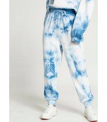 river island womens petite blue tie dye joggers