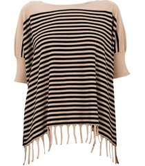 archiviob fringed stripes crew neck s/s sweater w/fringes