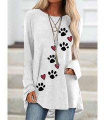 cuore camicetta casual da donna con scollo a manica lunga stampa zampa di cane
