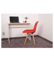 kit escrivaninha 90cm branca + 01 cadeira eiffel botonê - vermelha