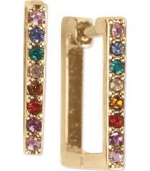 lucky brand pave square huggie hoop earrings