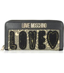 love moschino designer wallets, black eco leather and lurex zip-around women's wallet