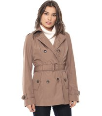 casaco trench coat facinelli by mooncity botões marrom - kanui