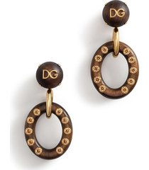 dolce & gabbana logo plaque wooden hoop earrings - brown