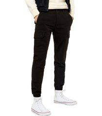 men's topman classic fit cargo pants, size 36 x 34 - black