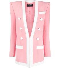 balmain contrasting-trim structured-shoulder blazer - pink