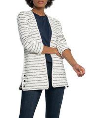 women's nic+zoe atlas stripe jacket, size small - blue