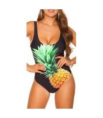 trendy zwempak-badpak met ananas-print gewatteerd zwart