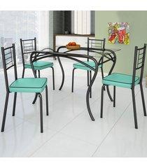 mesa de jantar 4 lugares lion juliana preto/verde claro - art panta