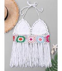 halter neck tassel crochet swim top